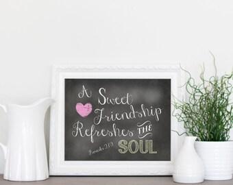 Friendship, Scripture, Chalkboard Printable, INSTANT download, Printable chalkboard art, Home decor