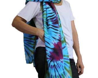 Blue Red Tie dye Cotton Scarf, Women Wrap Shawl , Circle Scarf , accessories (23)