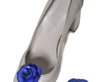 Blue Pink leather flower shoe clips full grain cowhide