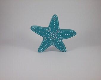 Starfish/desert turqoise/wood shelf sitter