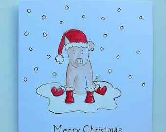 Merry Pig Christmas Card