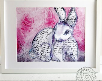 Printable, Instant Download, Digital Download, Art Print, Wall Art Print, Bunny, Floral, Pink, JPG