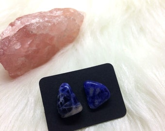 Sodalite Surgical steel Stud Earrings/ Gypsy Earrings / Chakra Jewelry/ Metaphysical Necklace/ Crystal Healing Jewelry/ Bohemian Jewelry