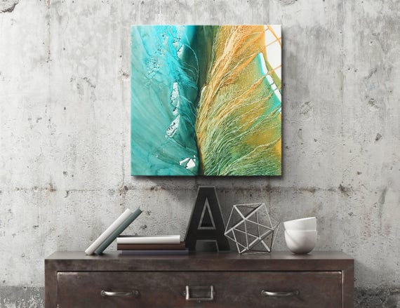 LEAVES SERIES #1013, Artist-Signed, Abstract Giclee Wall Art Print, Modern Home Decor, Contemporary Art ,Green Painting