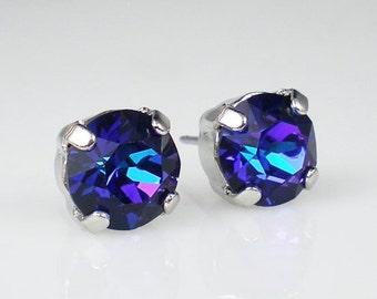 Violet Blue Rhinestone Stud Earrings  Heliotrope Wedding Jewelry Flower Girl Earrings Bridesmaid Earrings MADE TO ORDER