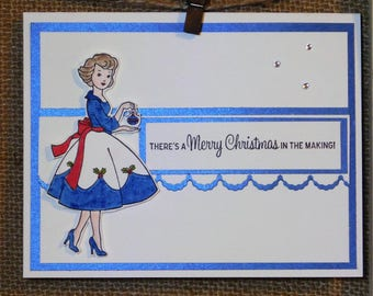 Christmas Card, Homemade, Stampin up, Blue, Deck the Halls, Vintage, Christmas in the Making