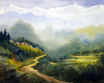 Morning Himalaya Landscape - Original Watercolor Painting on Paper, Himalaya, Mountain,