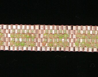Pink/green crystal cuff