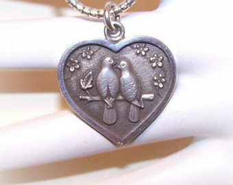 Adorable STERLING SILVER Heart Pendant with Two Turtle Doves by Kurt Morrison...