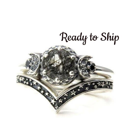 Ready to Ship Size 6-8 - Tourmalated Quartz Moon and Stars Silver Engagement Ring Set with Black Diamonds