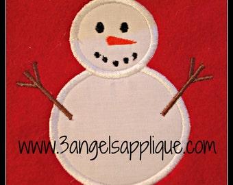 Snowman  applique design 3 sizes INSTANT DOWNLOAD