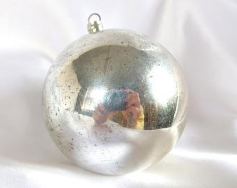 Large Plastic Ornament; Vintage Round Silver Ornament