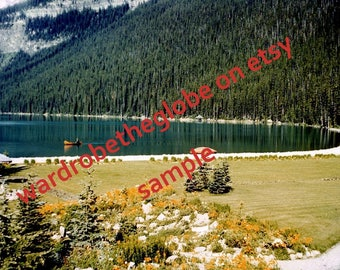 1940 Photo Lake Louise. Mountain Lake in Banff Alberta Canada. Canadian Rockies. DIGITAL DOWNLOAD. vintage Landscape w/ Canoe. Cabin Decor