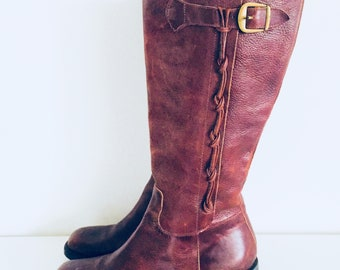 Leather Knee High Boots Riding Boots Size 7.5 M 37 38 made in Brazil by Nicole