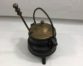 Antique 3 Footed Cast Iron Bean Coal Pot Cauldron with Brass lid and Brass/Stone Drip Stick