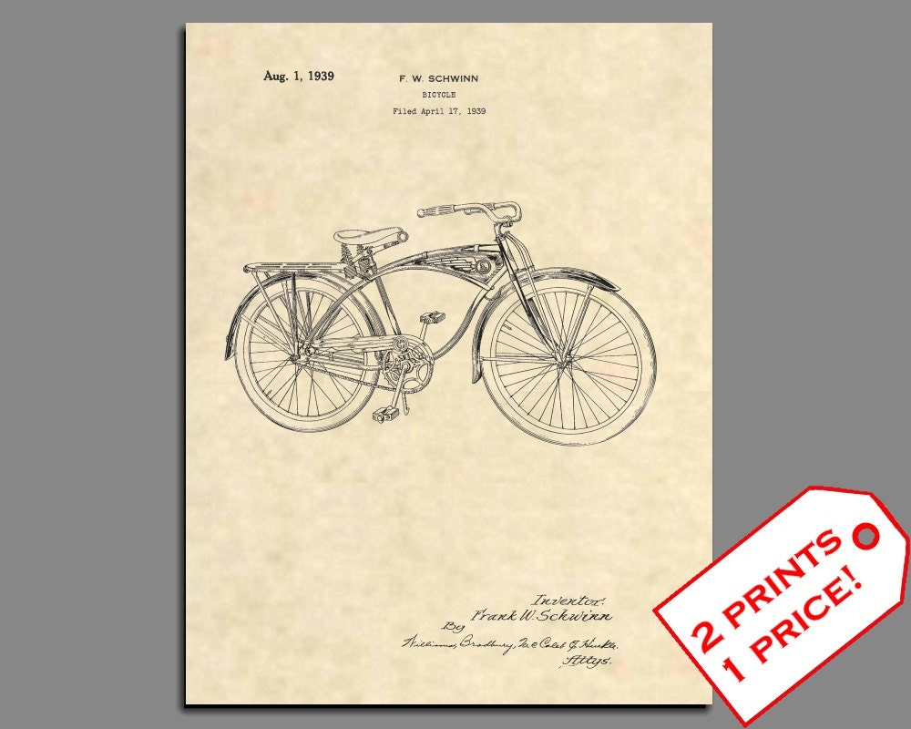 Fahrrad-Patent Schwinn Fahrrad Patent Prints Vintage