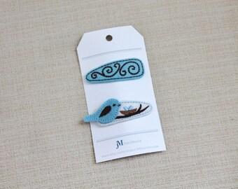 Light blue and Brown Bird 2 pack snap hair clip 100% Wool Feltie