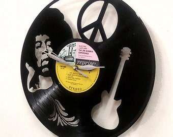 Jimi Hendrix Vinyl Record Clock or Framed - Guitar Wall Art --Great Rock'n'Roll, Jimi Hendrix, vinyl record, Gift