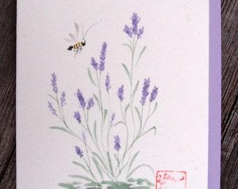 Lavender Greeting Card - ORIGINAL Chinese Brush Painting - Sumi-e - Honey Bee - Birthday - Hello - Just Because Card - Botanical Art