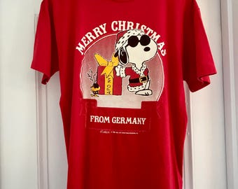 1970 SNOOPY MERRY CHRISTMAS from Germany / Vintage T-Shirt / Peanuts/ zjktvi