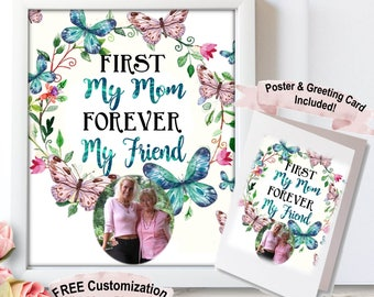 Personalised Mother Gift From Daughter, First my Mother Forever my Friend, Mother Quotes, Mothers Day, Mother's Day, Mothers Day Card Floral