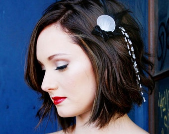 Feather Barrette Wedding Black, White, with Cascading Pearl Accent
