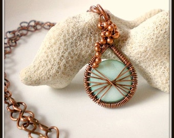 Aqua Shell Coin Bead, Peruvian Thread Style Copper Wire Wrapped Pendant, Handmade Copper Chain Necklace, Copper Bead Grape Cluster