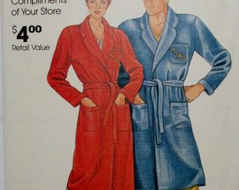 McCall's 0011 Vintage Unisex Bathrobe Sewing Pattern Uncut Size Small-Medium-Large-extra Large