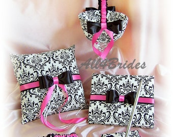 Madison Damask Weddings ring pillow, basket, guest book and bridal garters, hot pink and damask wedding accessories 6pc set
