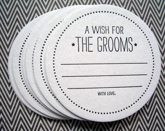 Letterpress Coaster Set - wish for the grooms (set of 30)