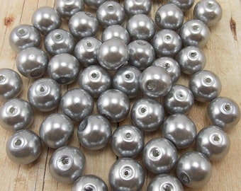 8mm Glass Pearls - Medium Gray - 50 pieces - Medium Grey