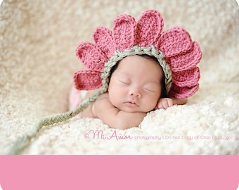 Flower bonnet hat, newborn perfect photography prop, Thank you Mi Amor Photography for a precious photo