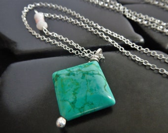 Sterling Silver and Natural Turquoise Pendant Necklace - Turquoise Necklace - Extra Long Necklace - Boho Necklace - Genuine Turquoise