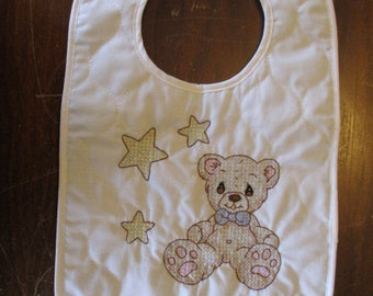Embroidered Baby Bid - Teddy Bear with Stars