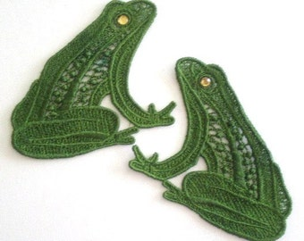 Embroidered Lace Appliques, Frog Applique, Green Frog, Lace Applique with Rhinestones