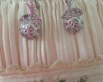 Art Deco Vintage Marcasite sparkling silver Rose earrings