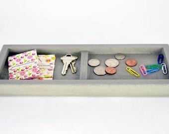 Concrete Valet Tray / Catchall Tray / Office Organization / Pocket Dump Tray / Key Tray / Nightstand Tray / Entryway Organizer / Modern Desk