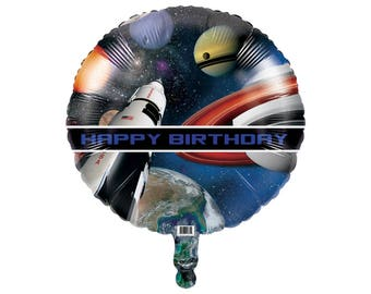 Rocket Birthday Balloon - Space Party Decorations - Space Balloon - Galaxy Balloon - Birthday Decorations - Outer Space Birthday Balloon