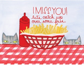 I Miss You! Cats and fries postcard