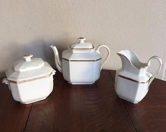 Antique Tea Set, Large Tea Pot, Creamer and Sugar Bowl.  Gold Trimmed. Records Say Haviland--But No Stamp, Hand Written Marks