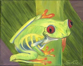 "Oil Tree Frog Painting / 8"" x 10"" Print"