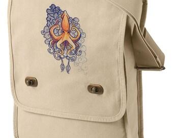 Urban Squid Tattoo Canvas Embroidered Field Bag