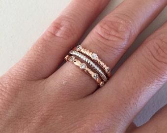 Jeu de 3 anneaux de pile, CZ bague en or de Rose, Twisted bague, bague en argent Sterling, bandes empilables