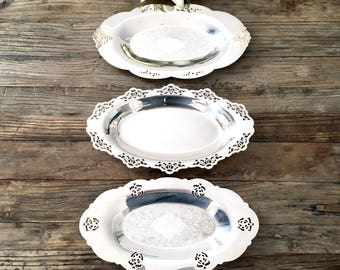 Lot of Vintage Silver Trays, Vanity tray,  Silver Platter, Shabby Chic French Decor, silver plate, French Farmhouse wall display