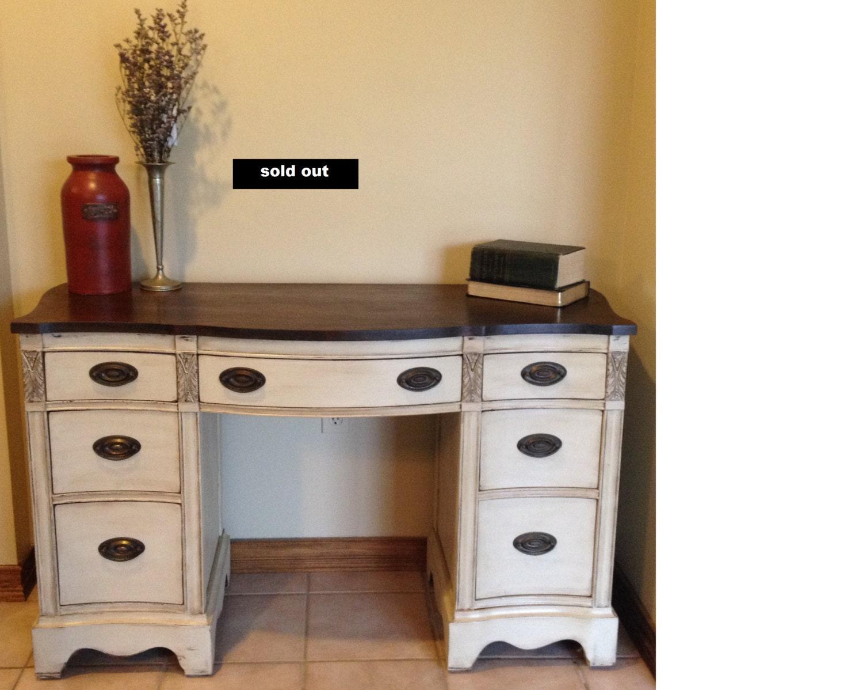 🔎zoom - SoldAntique Solid Wood Desk/vanity Refinished/vintage