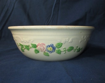 "1930s Homer Laughlin 8.5"" OVEN SERVE Casserole (No Lid), Ivory with Color Flower Trim (Pink, Blue, Green)"
