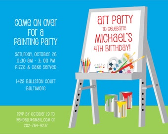 Easel Art party (Blue & Pink)