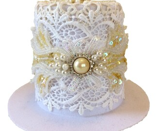 White Lace Bridal Tiny Top Hat