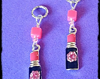 Hearing Aid Charms:  Girly Lipstick with Jeweled Flower and Glass Accent Beads!