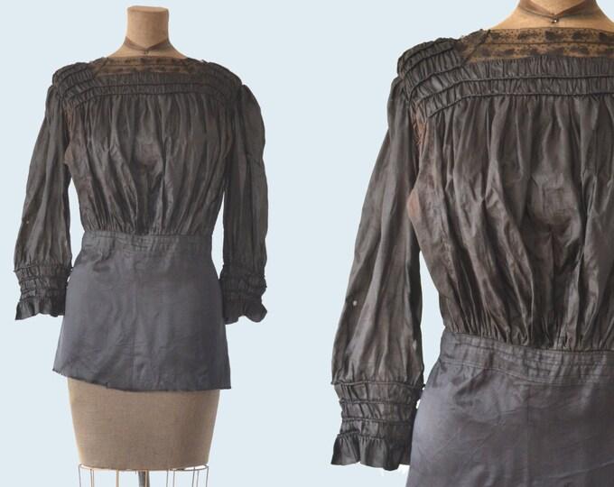 Victorian Black Silk Blouse size S